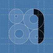 Round engineering font. Symbol 1