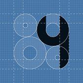 Round engineering font. Symbol 4