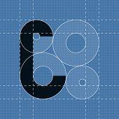 Round engineering font. Symbol C