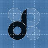 Round engineering font. Symbol D
