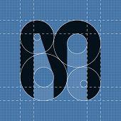 Round engineering font. Symbol M