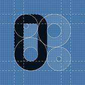 Round engineering font. Symbol O