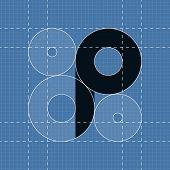 Round engineering font. Symbol P