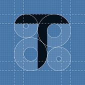 Round engineering font. Symbol T