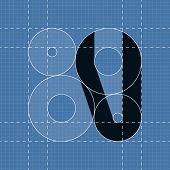 Round engineering font. Symbol V