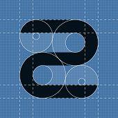 Round engineering font. Symbol Z