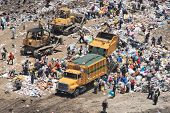 Scavengers are processing waste in Landfill at Guatemala City