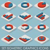 Flat Set Isometric Graphics Icons. Infographics