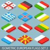 Flat Isometric European Flags Set 2