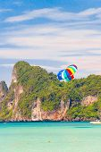 stock photo of parasailing  - Airborn Wing Aerial Adventure  - JPG
