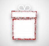 Christmas gift with snowflakes. Paper vector illustration.