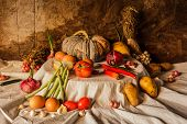 Still Life Photography With Pumpkin, Spices, Herbs, Vegetables And Fruits..