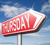 stock photo of thursday  - thursday road sign event calendar or meeting schedule - JPG