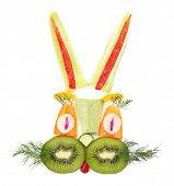 Healthy eating. Rabbit made of vegetables and fruits, isolated on white