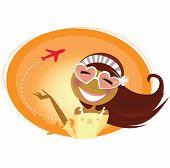 Frau mit herzförmigen Gläser und Flugzeug im Hintergrund