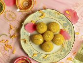 stock photo of laddu  - Boondi Laadu  - JPG