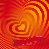 Red Heart Valentines Day Card. Three-dimensional Volumetric Image