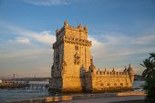 view of the belem tower at sunset, an historical monument in Lisbon, Portugal, Europe