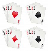 Glossy aces poker, four different arrangements