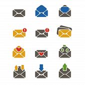 Vector simple designed colorful flat email message icons set