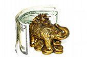 Bronze Elephant With Bill