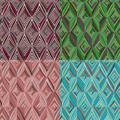 Set Of 4 Seamless Pattern. Modern Stylish Texture. Repeating Geometric Tiles With Green, Blue, Burgu