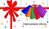 foto of friday  - Colorful Paper Shopping Bags with Cyber Monday Special Card and Voucher for Black Friday Shopping Season and Biggest Discount Promotion in A Year - JPG