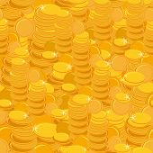 Texture With Golden Coins Seamless Pattern.