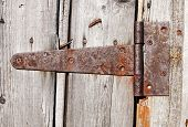 rusty aged iron hinge