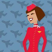 Stewardess, people occupation, airline advertisement. Vector illustration.