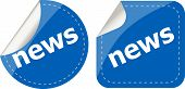 News Stickers Set, Icon Button Isolated On White