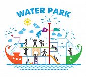 pic of toboggan  - Aqua park flat vector illustration - JPG