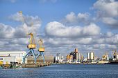 stock photo of brest  - Cranes in the port of Brest Brittany France - JPG