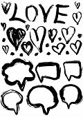 Grunge Set Of Speech Bubbles And Hearts. Grungy Decoration Effects.