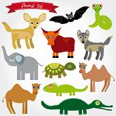 Set Of Funny Cartoon Animals Character On  White Background. Zoo. Vector