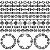 Border decoration elements patterns and round frames in black and white colors