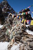 Prayer Flags At The Renjo Pass. Himalayas
