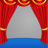 Red Curtain With With Golden Stripes
