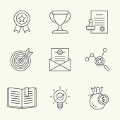 pic of goal setting  - Modern line icons of developing startup strategy - JPG