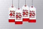 Sale Tags Design. Red vintage style. Vector illustration