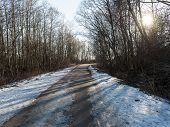 image of icy road  - icy winter road with sun rays and trees - JPG