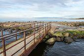 Old Bridge With Rusty Metal Rails