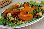Salad Greens With Persimmon, Pomegranate And Cashews