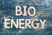 Bio energy written with wooden letters on rustic wood