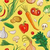 Two Variant Of Seamless Vector Pattern With Vegetables