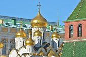 Golden Domes Of Churches In The Moscow Kremlin.