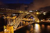 picture of dom  - The Dom Luis I Bridge is a metal arch bridge that spans the Douro River between the cities of Porto and Vila Nova de Gaia Portugal - JPG