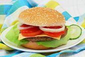 Cheeseburger, closeup