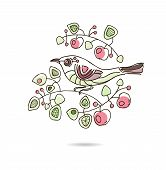 Spring floral vector vintage card with a branch of blossoming apple trees and a bird.