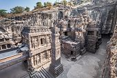 stock photo of ellora  - Kailas Temple in Ellora Maharashtra state in India - JPG